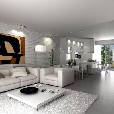 Proyecto interiorismo 3D de salón moderno
