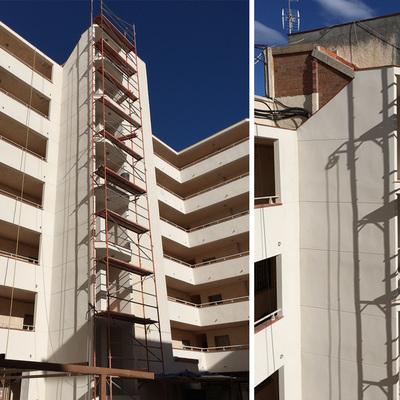 Trabajos de rehabilitación de fachada comunitaria