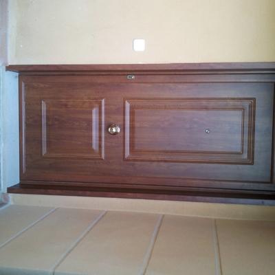 Puerta aluminio imitación madera Roble Dorado