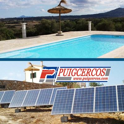 Instalación de piscina de fibra con filtración solar y energía solar fotovoltaica