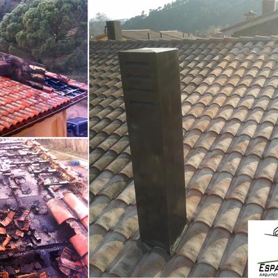 Reforma teulada cremada a Gualba
