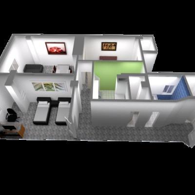 Render diseño de reforma integral de piso en valencia
