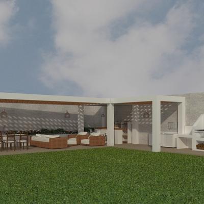 Proyecto en 3D de la terraza de una vivienda unifamiliar.