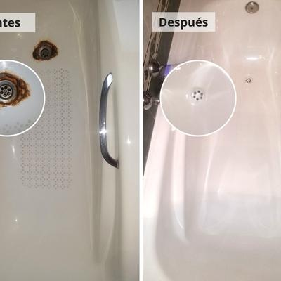 Reparación de desagüe de bañera mediante esmaltado