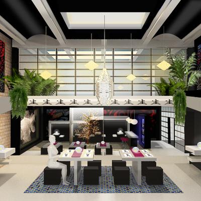 """Proyecto de interior de Restaurante japonés  """" el cerezo azul""""."""