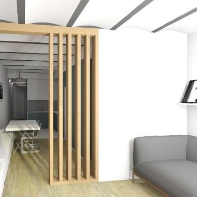 Render Sala Estar Proyecto Reforma Vivienda Barcelona