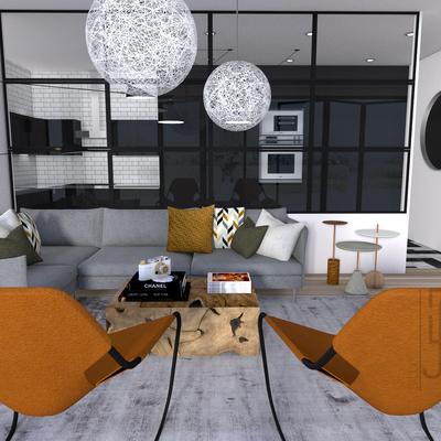 Salón Cocina semi-integrada