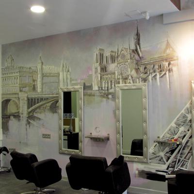 Decoración mural en peluquería.
