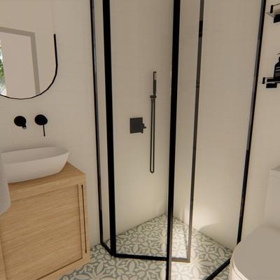 Render baño servicio proyecto Centro
