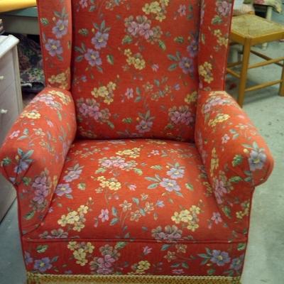 sillón orejero en chinilla flores