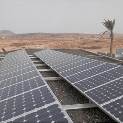 Instalación fotovoltaica en la isla de Fuerteventura.