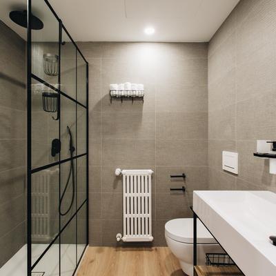 Baño con rasgos vintage