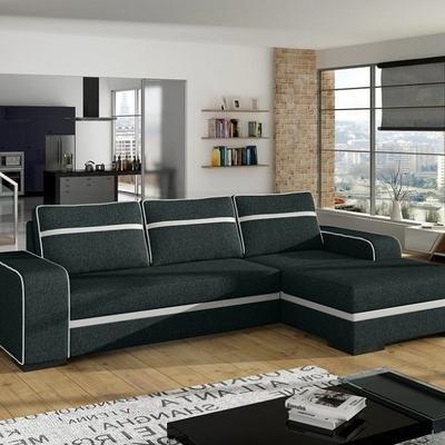 Sofá chaise longue cama gris con arcón – Bermuda. Esquina derecha