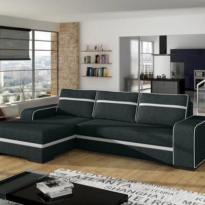 Sofá chaise longue cama gris con arcón – Bermuda. Esquina izquierda