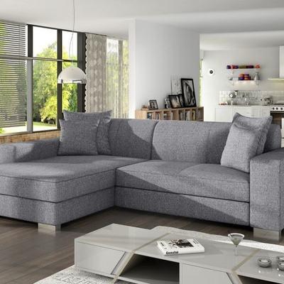 Sofá chaise longue cama tapizado en tela gris claro – Maldives. Esquina izqueirda