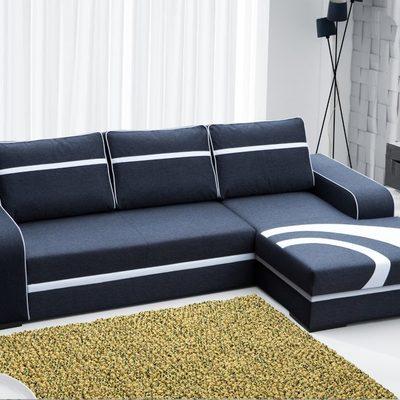 Sofá chaise longue cama de color gris oscuro con arcón – Bay. Esquina derecha