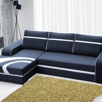 Sofá chaise longue cama de color gris oscuro con arcón – Bay. Esquina izquierda