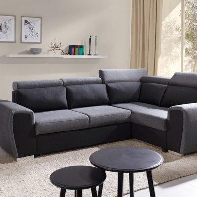 Sofá rinconera cama con reposacabezas reclinables – Bali. Esquina derecha. Gris / negro