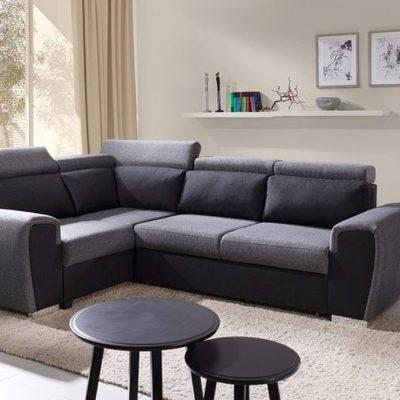 Sofá rinconera cama con reposacabezas reclinables – Bali. Esquina izquerda. Gris / negro