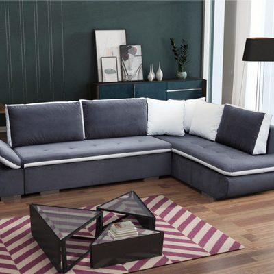 Sofá rinconera cama de color azul con cojines – Bondi. Gris oscuro. Esquina derecha