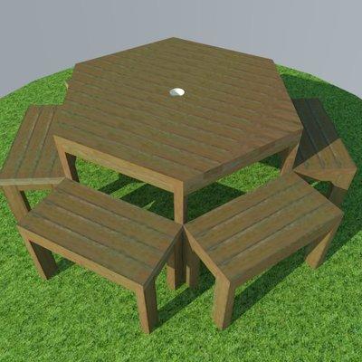 Mesa exagonal pino con 6 bancos