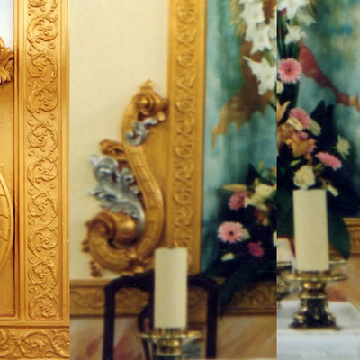 Trabajos de policromía laterales altar mayor Iglesia de la Cruz (Sangonera la Verde).