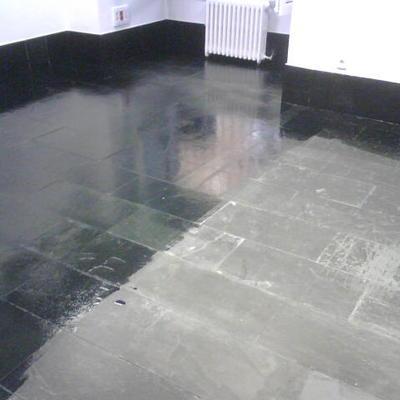 Tratamiento de suelo de pizarra negra