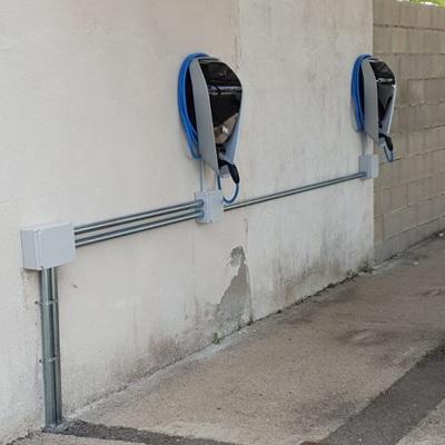 Instalación de punto de recarga de vehículo eléctrico.