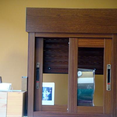 ventana corredera imitacion madera