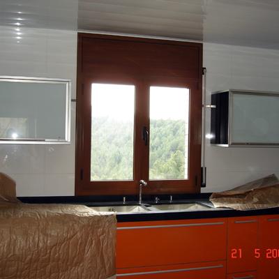 ventana practicable de 2 hojas color madera