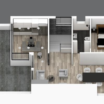 Render Vista aérea de reforma total de vivienda, para mas informacion Visita www.rysibcn.com