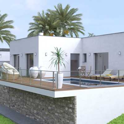 Vista piscina y terraza proyecto Roda de Berà