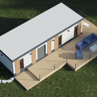 Vista isométrica de casa prefabricada modular con avance