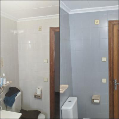 Pintura de azulejos en un baño