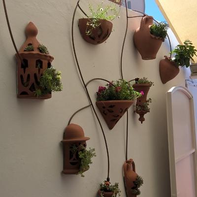 Decoración de pared con macetas especiales