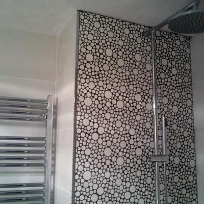 Zona ducha con duchón y frontal en gresite