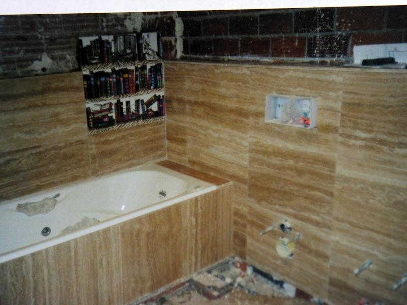 Foto ba o 1 2 altura m rmol travertino de reformaszappino for Banos con marmol travertino