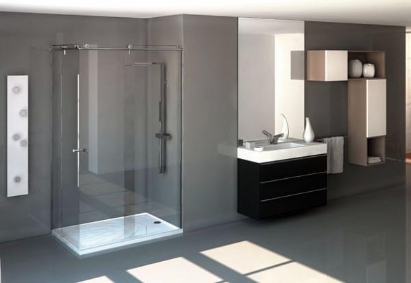 Foto ba o con lavabo de y plato de ducha silestone de - Platos de ducha modernos ...