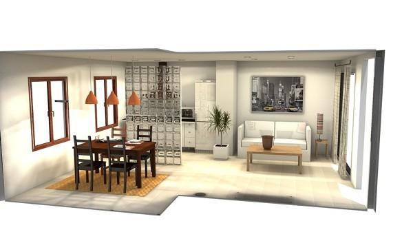 Foto dise o 3d sal n cocina y comedor de coreal reformas for Unir cocina y salon
