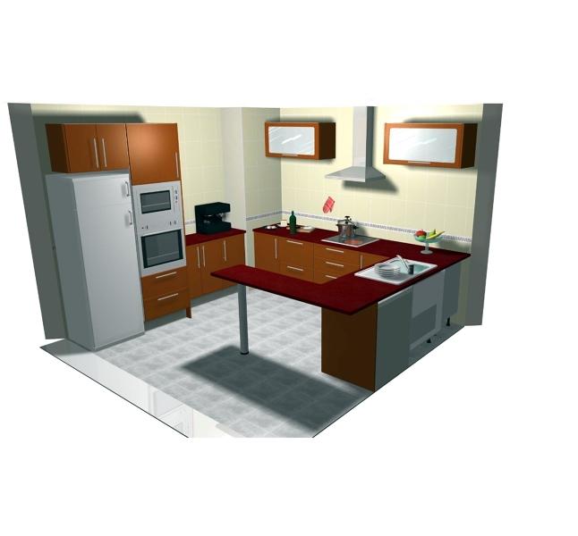 Foto dise o de cocinas en 3d de puertas recuenco beltran for Disenos de cocinas en l