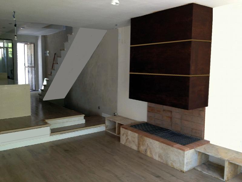 Foto dise o de comedor y office de cocina suelos - Chimeneas de pared ...