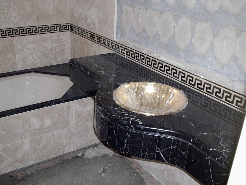Foto encimera de marmol y lavabo de cobre de antonio - Encimeras de marmol para lavabos ...