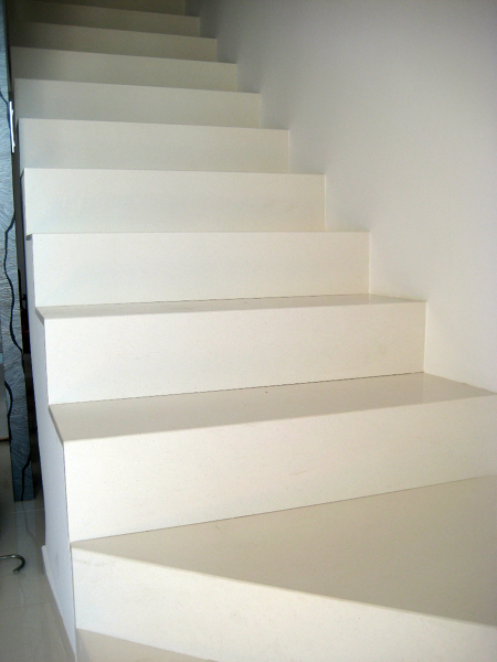 Foto escalera silestone blanco zeus de marmoleria cruz - Precio silestone blanco ...