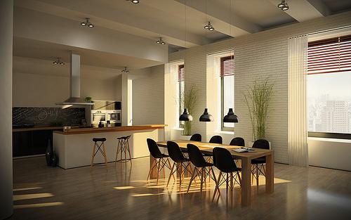 Foto lo mas moderno en espacios compartidos cocina y for Comedor y cocina modernos
