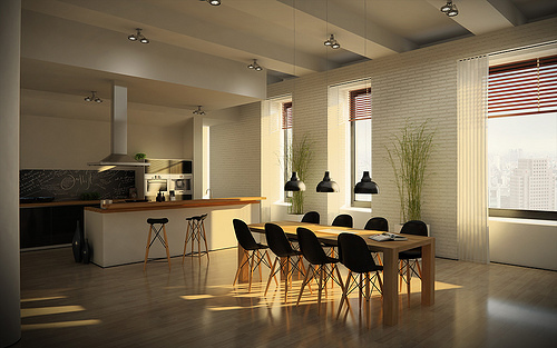 Foto lo mas moderno en espacios compartidos cocina y for Comedores de cocina modernos