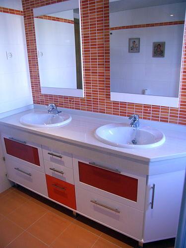 Muebles De Bano Naranja.Foto Mueble Bajo Encimera Blanco Y Naranja De Muebles De Bano Jara
