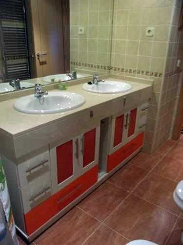 Muebles De Bano Naranja.Foto Mueble Bajo Encimera Naranja Y Blanco De Muebles De Bano Jara