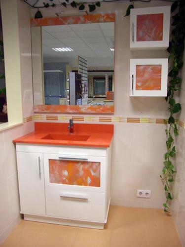 Muebles De Bano Naranja.Foto Mueble Encimera Compac Naranja Y Auxiliares De Muebles De Bano