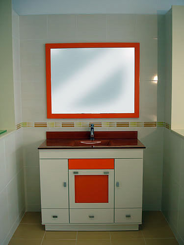 Muebles De Bano Naranja.Foto Mueble Encimera De Cristal Naranja De Muebles De Bano Jara