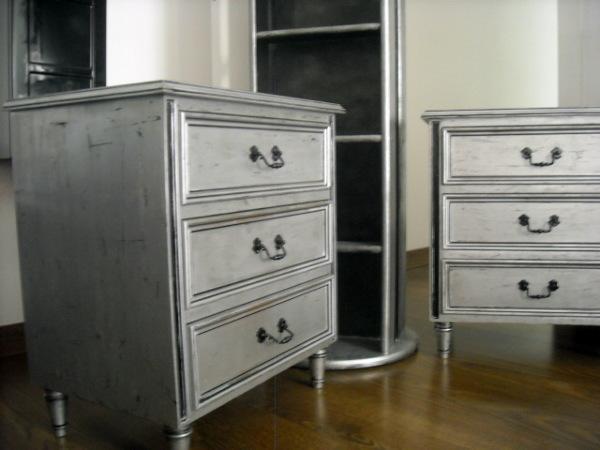 Muebles Pintados en Plata y Negro(originalmente Barnizados en Caoba